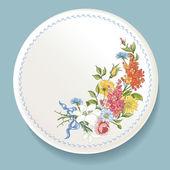 白いプレート上の野生の花のバロック式の花束 — ストックベクタ