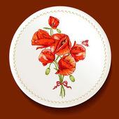 Piękny bukiet czerwony mak na białym talerzu — Wektor stockowy