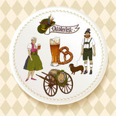 Oktoberfest Beer Set on a white plate — Stock Vector