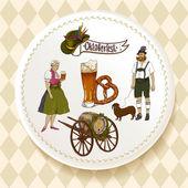 Oktoberfest Beer Set on a white plate — Stock Vector