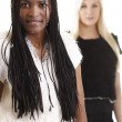 Portrait of friends - African-American and Caucasian — Stock Photo