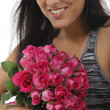Attractive woman with a bunch of pink roses - love - Valentines day — Stock Photo