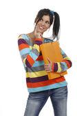 Mulher jovem feminina, com o portfólio de aplicativos — Foto Stock