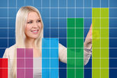 Businesswoman points to a success curve on a touchscreen — Stock Photo