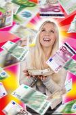 Lucky woman under money rain — Stock Photo