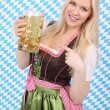 Attractive woman with dirndl and beer mug — Stock Photo #26369511