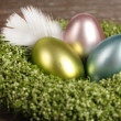 Stock Photo: Easter eggs in easter nest