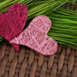 Pink heart on green grass — Stok fotoğraf