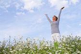 Happy woman enjoys life — Stock Photo