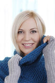 Attractive woman with heavy wool sweater — Stock Photo