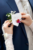 Bouquet of the groom — Stock Photo