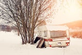 Winter caravan — Stock Photo