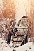 Snöiga båt — Stockfoto