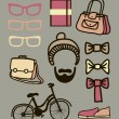 Vector set of hipster — Stock Vector