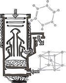 Vector tekening regeling voor kwik vacuüm pump — Stockvector