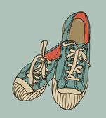 Vector de color patrón zapatillas de gimnasia — Vector de stock