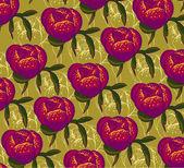 Vector decorative image peony flowers ornate — Stock Vector