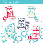 Set of raccoons who wash themselves and wash clothes — Stock Vector