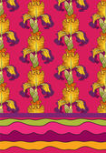Vector ornament flower iris — Stock Vector