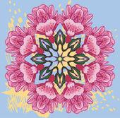 Ozdobne okrągły wzór kwiatowy. — Wektor stockowy