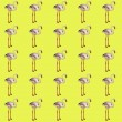 Bright yellow seamless vector pattern with flamingos — Stock vektor