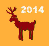 Vector Christmas deer and New Year hand-painted decoration — 图库矢量图片