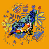 Vector drawing of the bird — Stock Vector