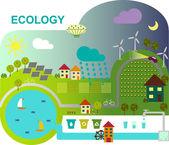 Vector illustration of ecologically friendly production methods and zemlideliya elektoenergii — Stock Vector