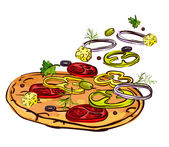 Vector illustration of a pizza — Stock Vector