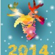 Vector Christmas deer and New Year hand-painted decoration — Stockvektor