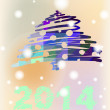 Vector Christmas and New Year hand-painted decoration with Christmas tree — Stock Vector