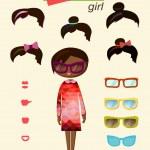 Hipster girl fashion set — Stock Vector
