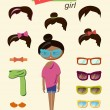 Hipster girl fashion set — Stock Vector