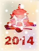 Vektorové vánoce a nový rok-ručně malované dekorace s bell s koněm — Stock vektor