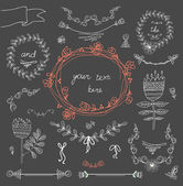 Vintage frames and handdrawn floral decorative elements — Stock Vector