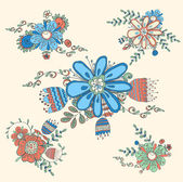 Vector retro floral elements — Stock Vector