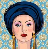 Vector portrait of woman in oriental headdress — Stock Vector