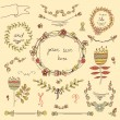 Vintage frames and hand-drawn floral decorative elements — Stock Vector