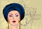 Vector portrait of woman in oriental headdress — Stok Vektör