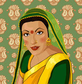 Vector portrait of a beautiful Indian woman in sari — Stock Vector