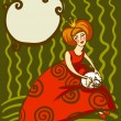 Vector illustration of princess in a red dress with a white cat on her lap — Grafika wektorowa