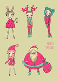 Set of teenage christmas girls — Stock Vector
