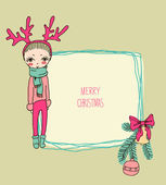 Cute christmas girl — Vector de stock