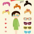 Stock Vector: Hipster girl fashion set