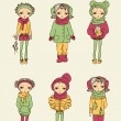 Set of winter teenage vector girls — Stockvektor
