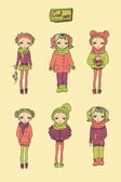 Set of teenage vinter girls — Stock Vector
