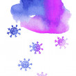 Watercolor snowy cloud — Stock Vector