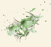 Vector watercolor hand drawn vintage illustration of leaf — Stockvector
