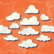 Stock Vector: Clouds on a Grungy Sky