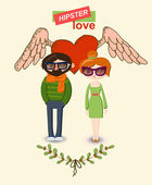 Vintage hand-drawn hipster man and woman Love decorative elements set — Stock Vector